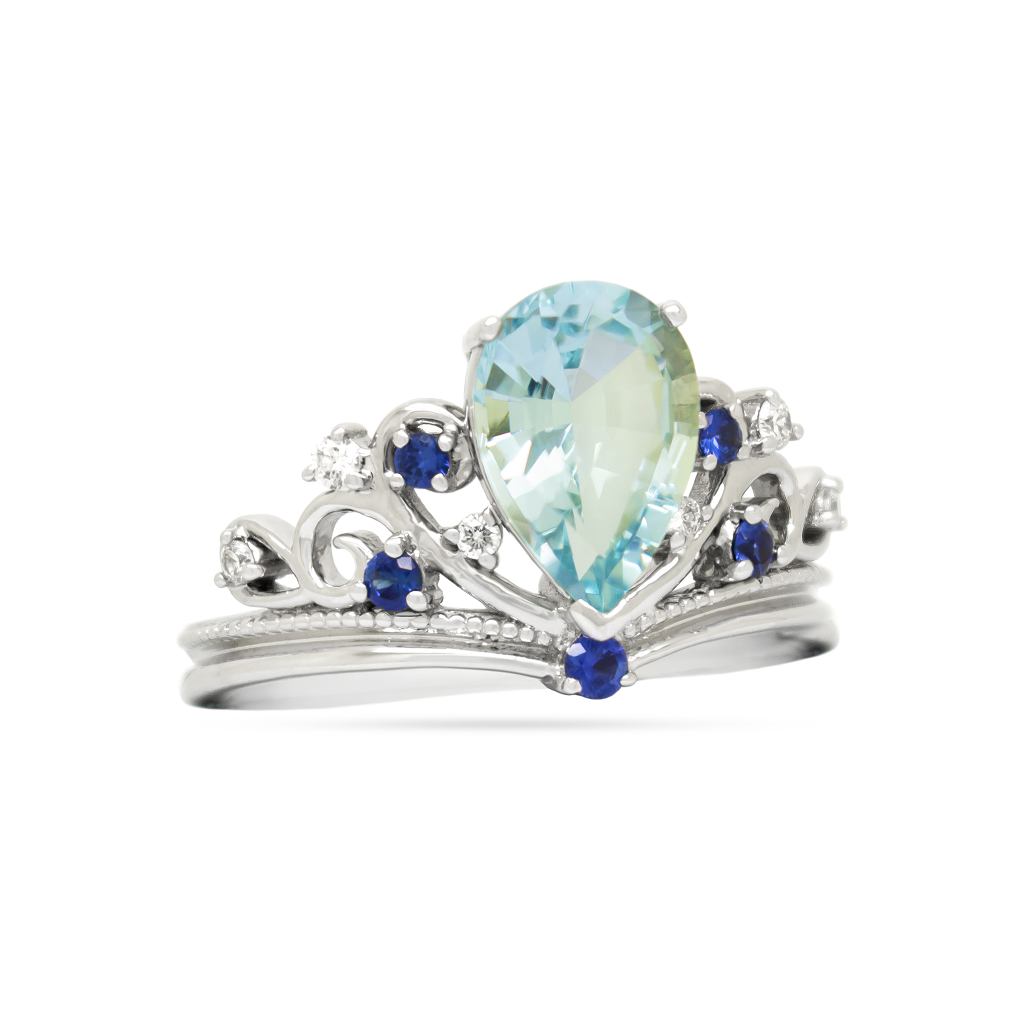 Aquamarine and Sapphire Crown Ring