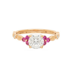 Diamond and Pink Sapphire Engagement Rin