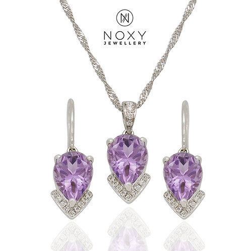 [SOLD] Rose de France Amethyst Pendant and Earrings Set