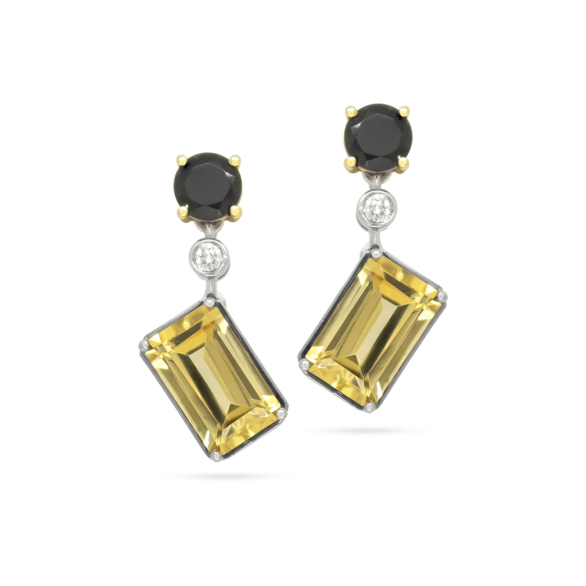Black Spinel, Imperial Topaz and Diamond