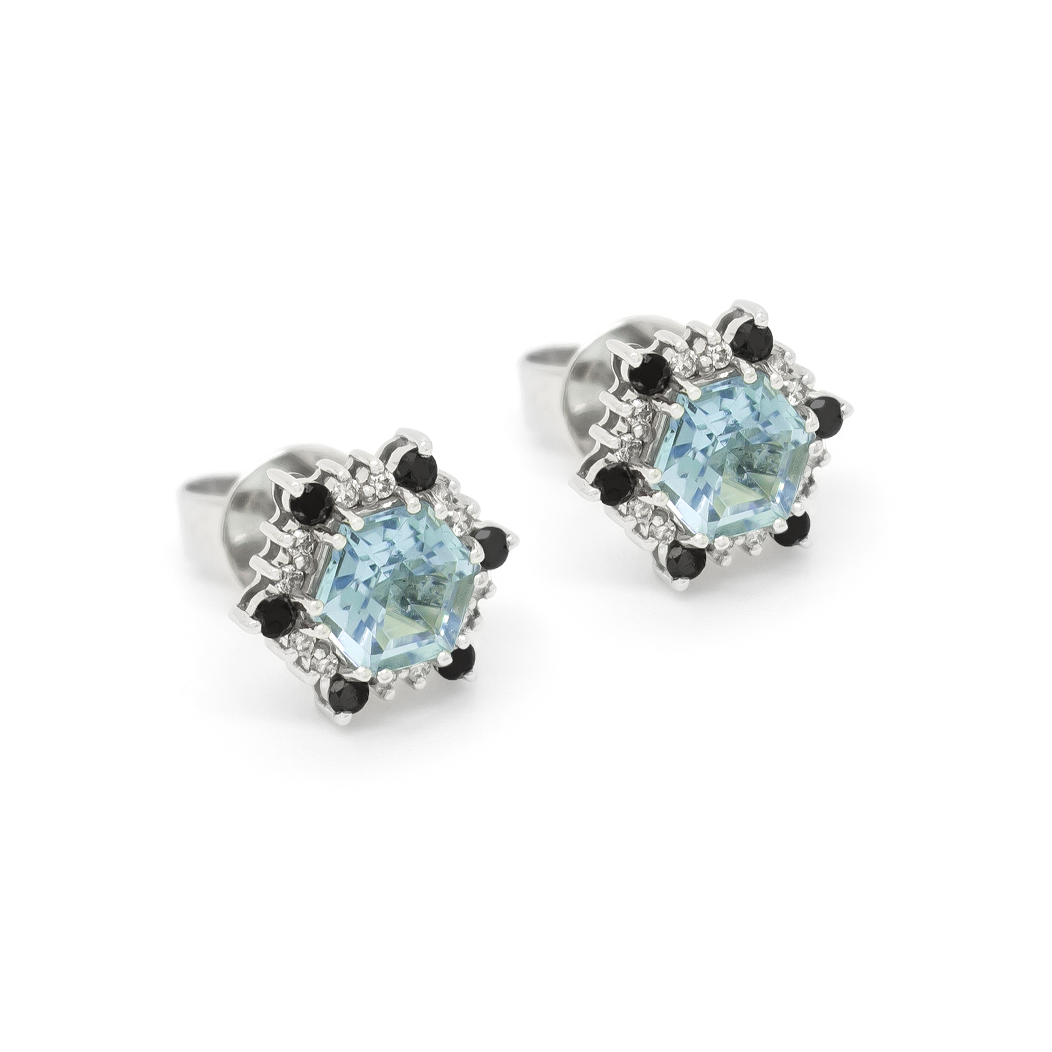 Aquamarine and Black Diamond Earstuds