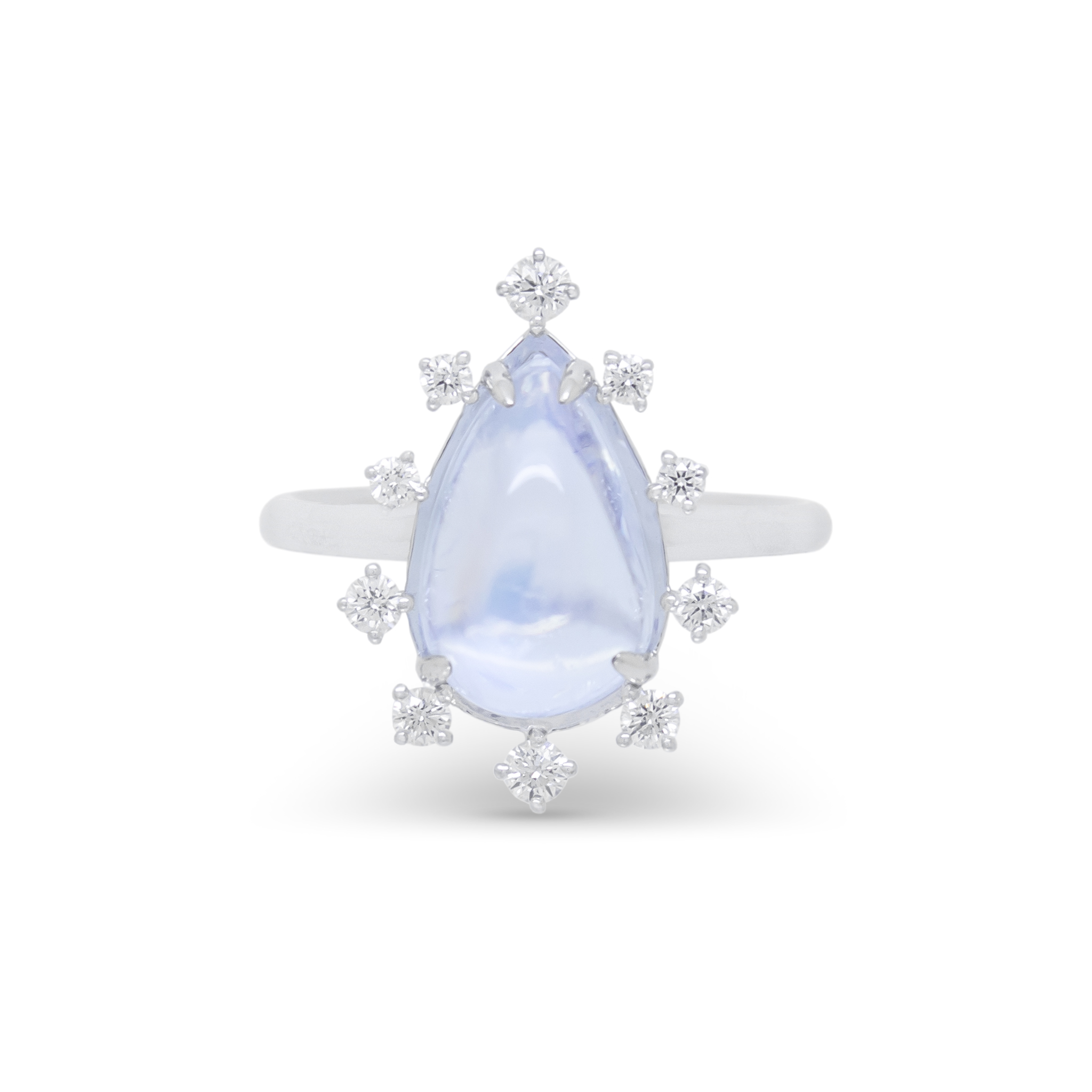 Moonstone Ring with Dispersed Diamond Ha