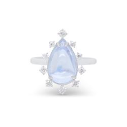Moonstone Ring with Dispersed Diamond Ha