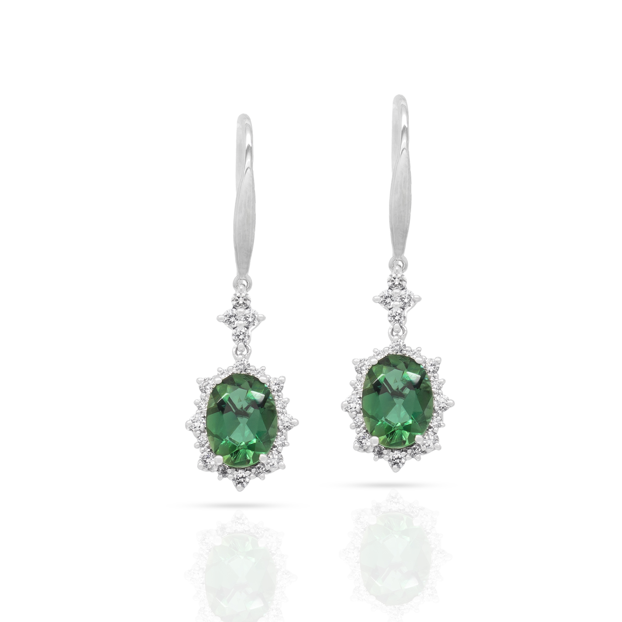 Green Tourmaline Earrings with Signature
