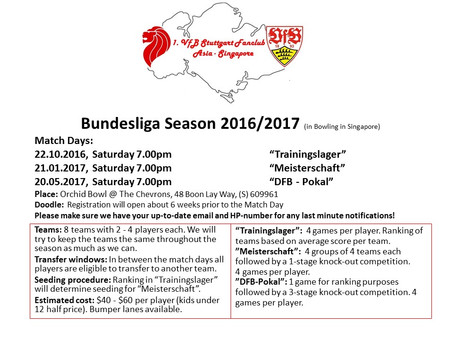 Bundesliga Season 2016/2017 (in Bowling in Singapore) - Match Days announced