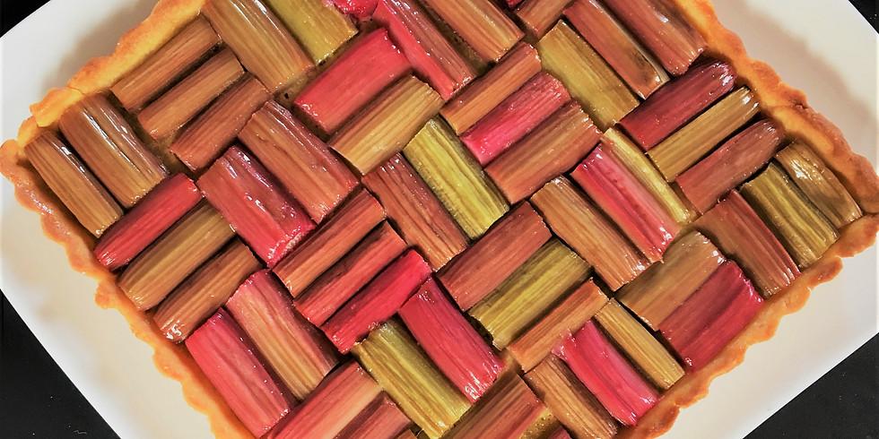 Tarte graphique rhubarbe fraises