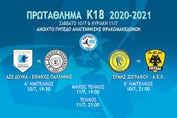 Πρόγραμμα Final 4 Πρωταθλήματος Κ18 2020-2021