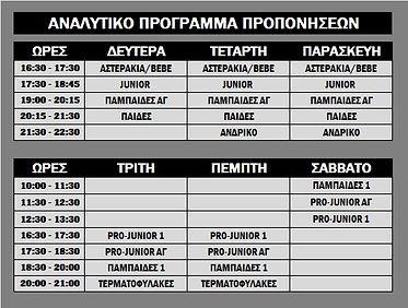 Νέο Πρόγραμμα Προπονήσεων 2017-2018
