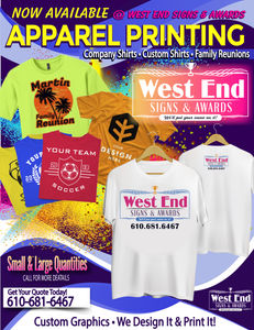 56245fca0 Custom apparel designs for Company Shirts, Sport's Teams, Events, Family  Reunions,etc. Stop In and ask for a Quote Today!