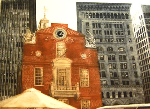 "The Old State House-Boston...22""x30""...collagraph"