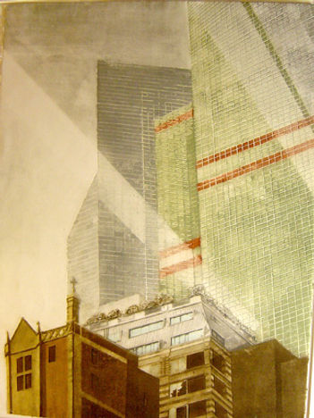 "Morning Light-Lexington Avenue...30""x22""...collagraph"