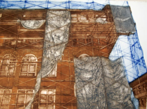 "Draped Structure...22""x30""...collagraph"