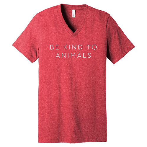 V-Neck Be Kind To Animals Red Tee