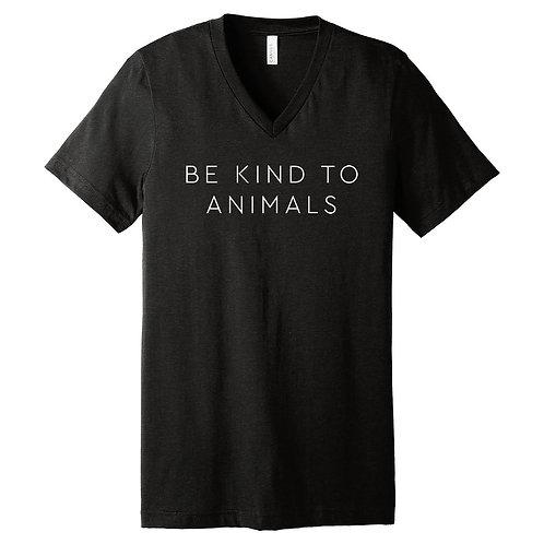V-Neck Be Kind To Animals Black Tee