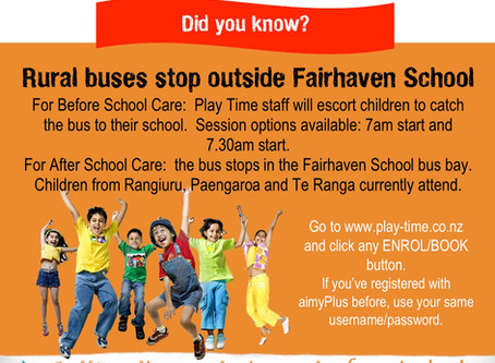 Play Time Fairhaven School - Rural bus service stops outside Fairhaven School