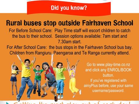 Play Time Fairhaven School - Rural bus service stops outside Fairhaven School