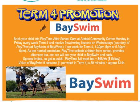 PlayTime Arataki Community Centre:  Term 4 Promotion with BaySwim!
