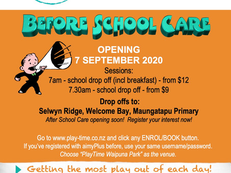 Welcome Bay!  PlayTime is coming to you with Before School Care based at Waipuna Park Hall!