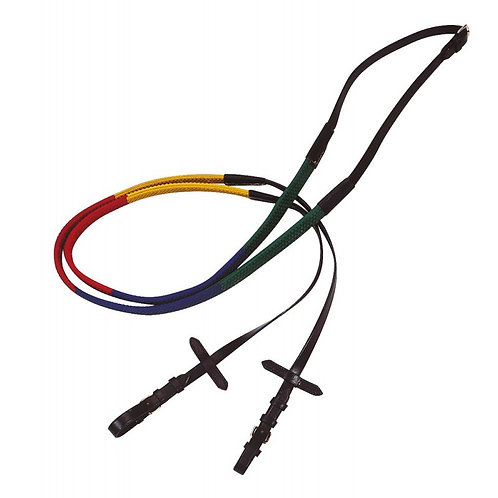 Norton Club Multi Coloured Rubber Grip Leather Training  Reins
