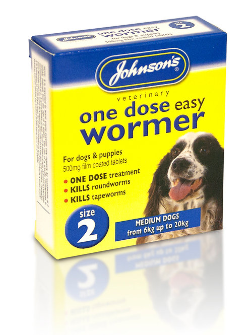 Johnsons Veterinary One Dose Easy Dog Wormer Size 2 Medium Dogs up to 6 - 20kg