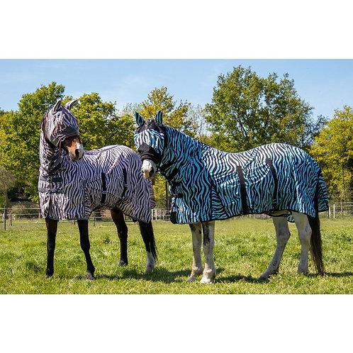 HKM Full Combo neck Zebra Fly Rug - Rose/Grey