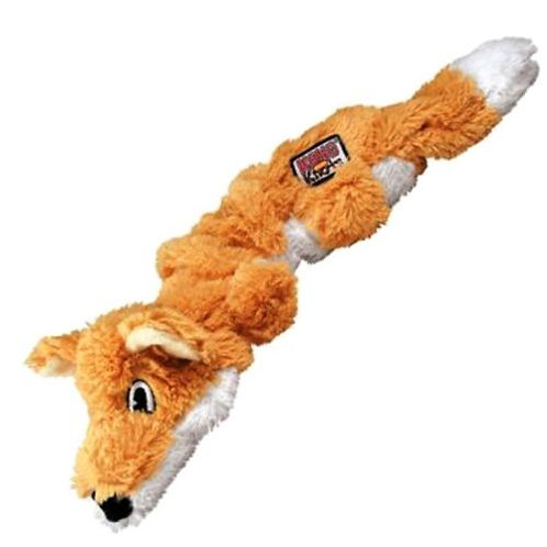 KONG Scrunch Knots Fox Small/Medium Dog Toy Squeaker Fetch Squeaky Puppy