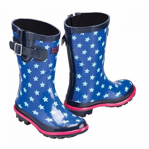 Harry Hall Hale Star Design Wellies Kids Blue