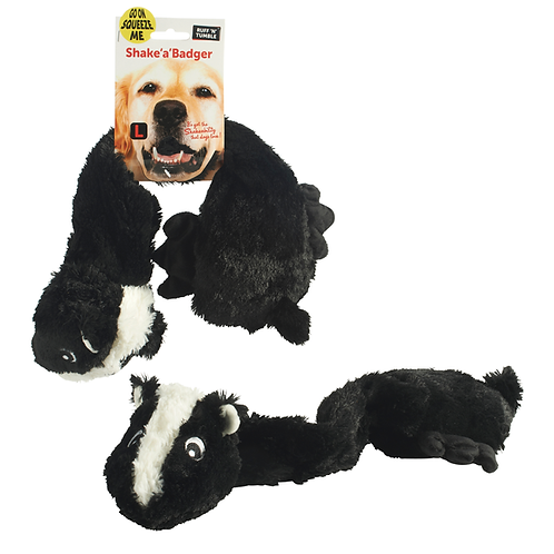 Shake a Badger Dog Toy Soft Plush Sharples 'n' Grant Squeaker