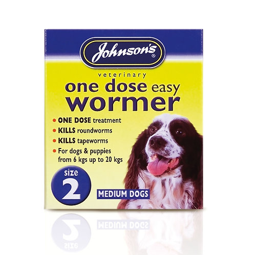 Johnsons Veterinary Easy Wormer One Dose For Dogs Size 2 - Medium Dogs