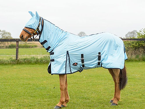 Equestrian King All In one Combo Fly Rug And Mask Sky Blue