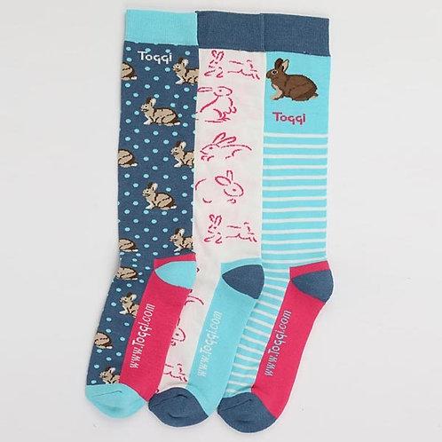 Toggi Honeydon Ladies Bunny Rabbit  Socks - Pack of 3