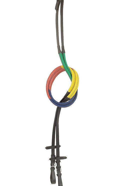 Multi Coloured Rubber Grip Training  Reins
