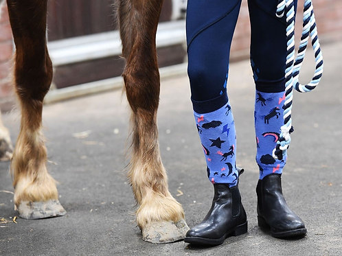 Harry Hall Childrens Horse Riding Socks Unicorn - 3 pack