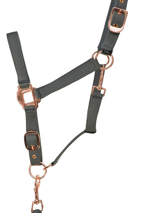 Hy Rose Gold headcollar And Leadrope Set