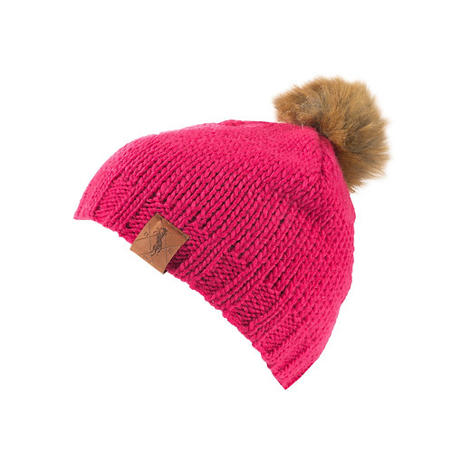 Horze Knitted Faux Fur Pom Hat Raspberry Pink