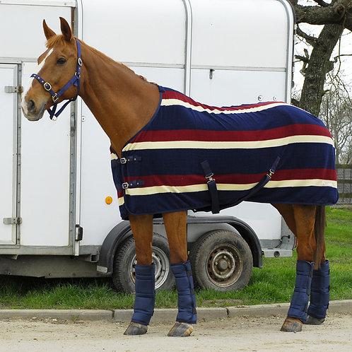 Rhinegold Elite Striped Fleece Rug Burgundy Stripe