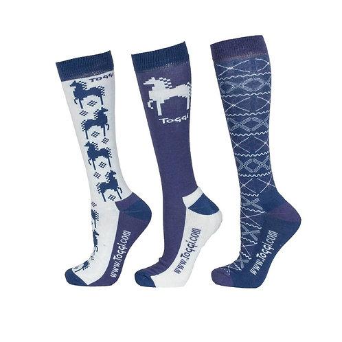 Toggi Heysham Fairisle Horse Design Riding Socks - Pack of Three Pairs