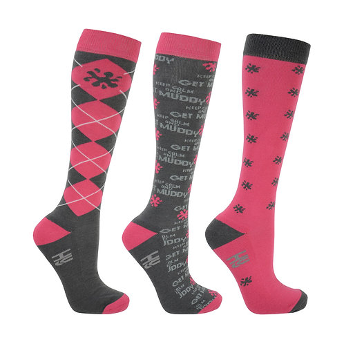 "Hy Fashion ""Keep Calm & Get Muddy"" Long Riding Socks"