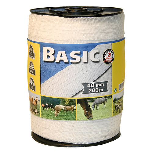 Basic Electric Fence Tape Roll 200m x 40mm White
