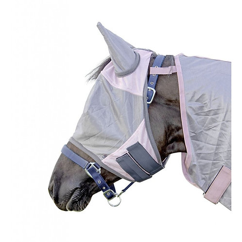 HKM Fly Mask - Rose/Grey