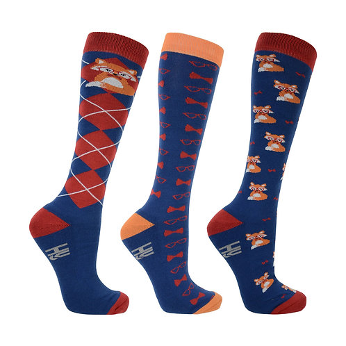 Hy Fashion Fraser The Fox Long Riding Socks - 3pk