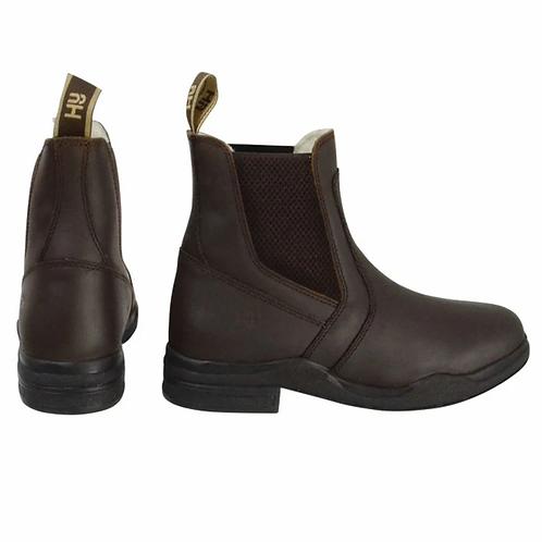 HyLand fleece Lined Wax Leather Jodhpur Boots Brown