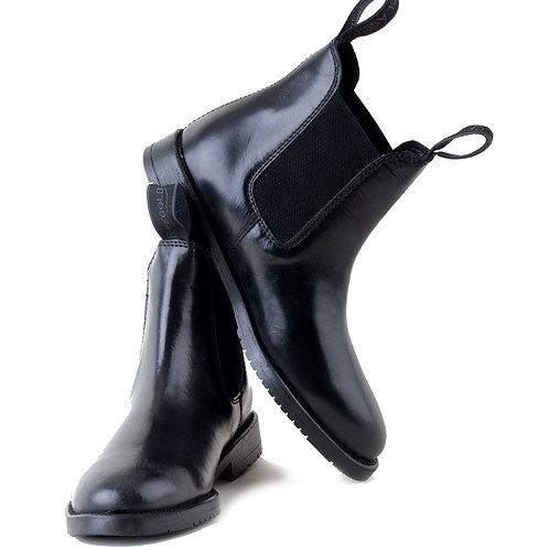 Rhinegold Equestrian Childrens  Comfey Classic Black Leather Jodhpur boots