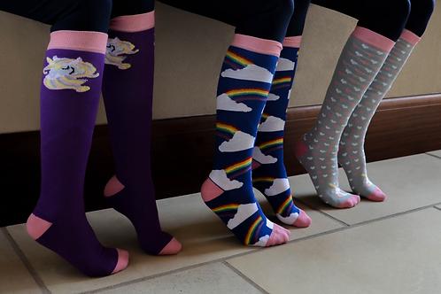 Hy Fashion Unicorn Socks - 3 Pack -Childs 10-3
