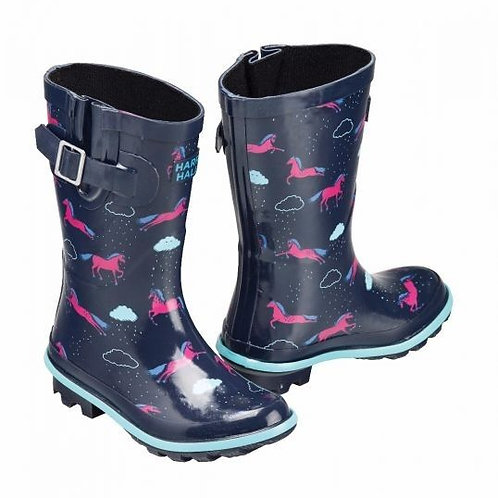 Harry Hall Junior Hale Wellies Navy/Pink Horse Design
