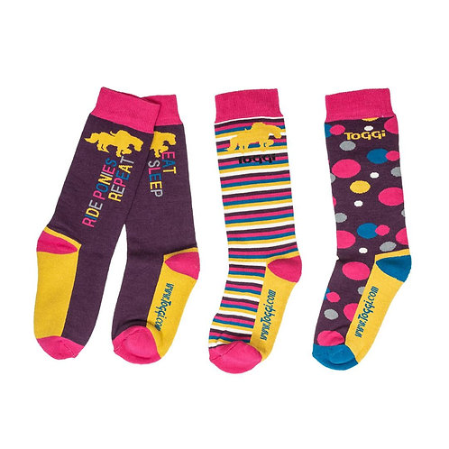 Toggi Shana Ride Ponies & Repeat Childrens Socks - 3 Pack