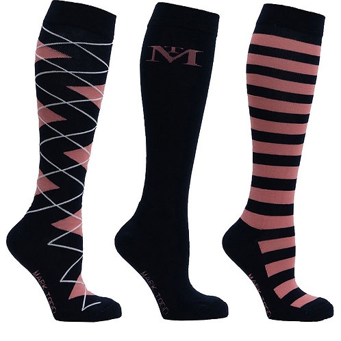 Mark Todd Navy / Rose Gold Long Riding Socks 3 Pack