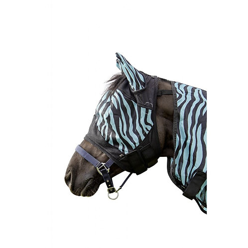 HKM Fly Mask Zebra Stripe Aqua