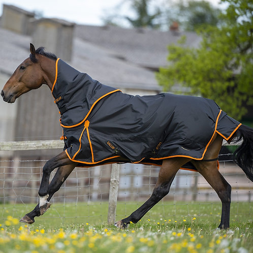 Gallop Troajn Dual 100g Turnout Rug With Detachable Neck Cover Black Orange