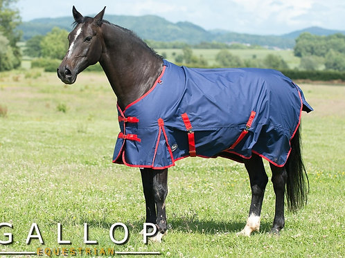 Gallop[ Equestrian Trojan 200g Horse Turnout Rug Navy/Red Binding
